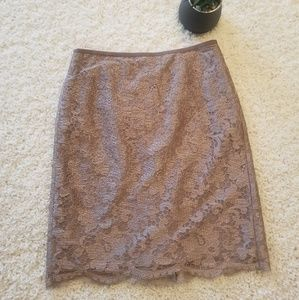 J. Crew Lace Pencil Skirt Mocha Color